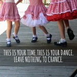 three little girls in red skirts clogging