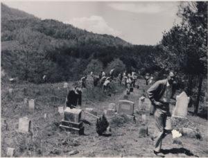 people in graveyard