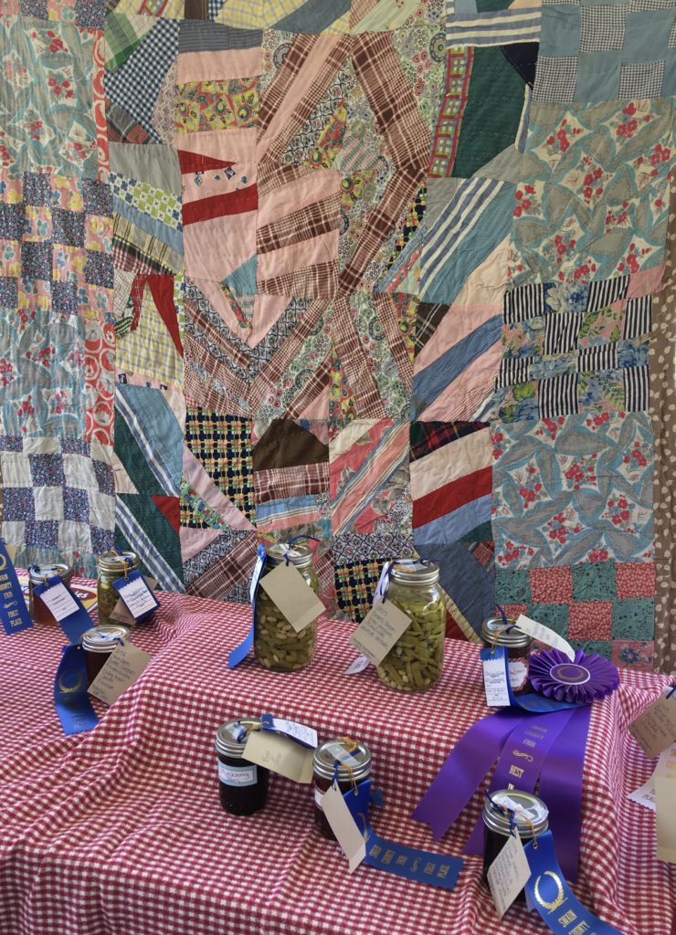 winning canned goods and quilt
