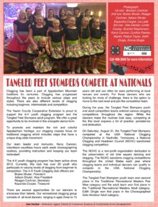 Tangled Feed Stompers article in newsletter