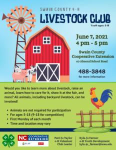 4-H Livestock Club Meeting June 7
