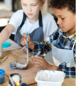 youth paining pottery