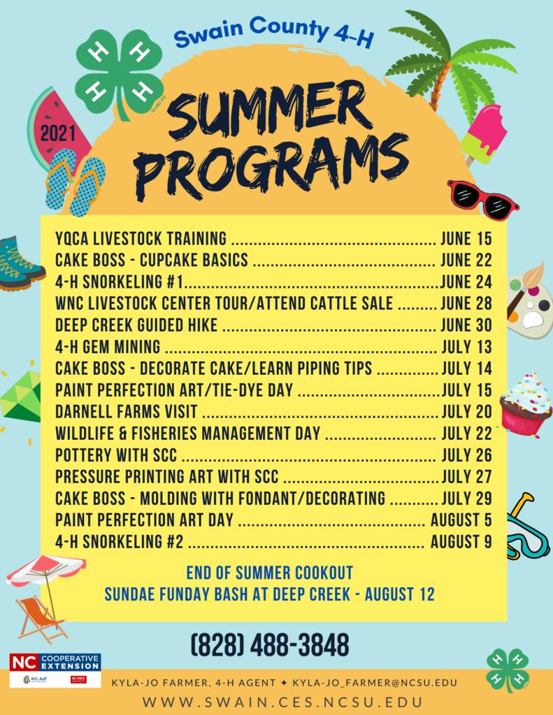 Swain County 4-H Summer Programs Lineup 2021